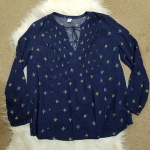 Old Navy Blue Peasant Blouse Sz Small NWOT